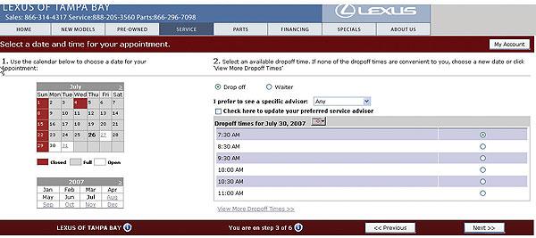 online scheduling parts sales build service work